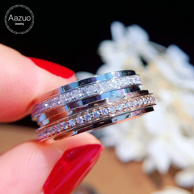 Aazuo-خاتم من الذهب الأبيض عيار 18 قيراطًا مع الماس الحقيقي ، خاتم خطوبة 0.3 قيراط H SI ، لون ذهبي وردي ، عرض خاص ، Au750