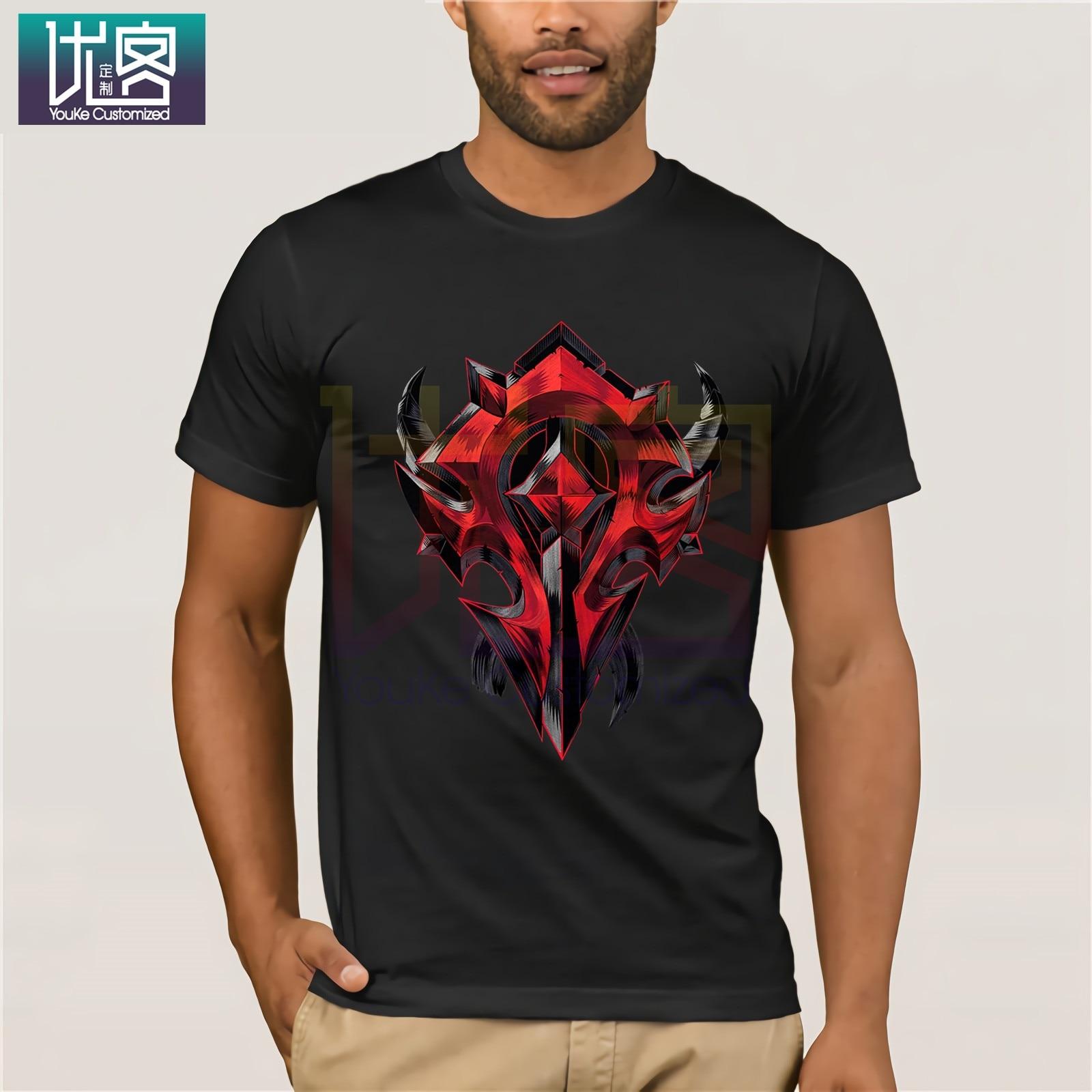 Camiseta con jugador de World of Warcraft con escudo de Horde, camiseta Popular de cuello redondo, camisetas de algodón 100%, Camiseta de algodón presente