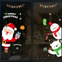 christmas santa claus wall stickers showcase glass decoration removable new year waterproof self adhesive wallpapers decals
