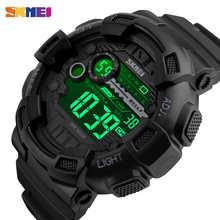 SKMEI Мужчины Спортивные Часы 50 М Водонепроницаемый Подсветкой LED Цифровые Часы Хронограф Двойной Шок F Наручные Часы 1243