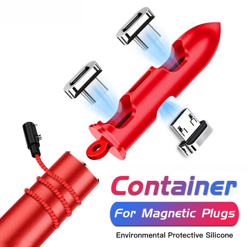 Funda de tapones magnéticos para cables, caja de almacenamiento de silicona portátil...