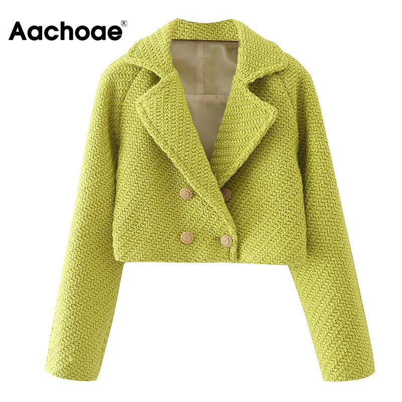 Aachoae المرأة الصلبة اللون تويد اقتصاص معاطف السترة مزدوجة الصدر طويلة الأكمام معاطف الإناث شيك ملابس خارجية غير رسمية الخريف