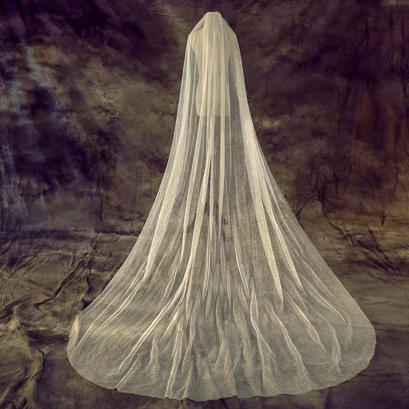 Velo de novia elegante brillante para mujer 1 capa 200 CM con peine velo de marfil para novia velo de boda de tul