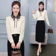 2021 Autumn New Fashion Elegant Doll Collar Lace up Lace Shirt