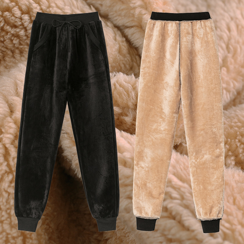 Plus Size Winter Warm Harem Pants For Women Korean Sweatpants Women's Trousers Female Black Soft Fle
