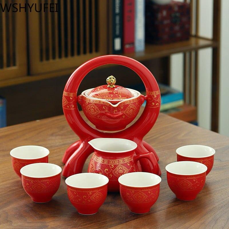 Copos de Chá do Agregado Retro Cerâmica Preguiçoso Homem Chá Conjunto Portátil Semiautomática Infusor Oolong Familiar Filtro Porcelana Teaware 8 Pçs – Set