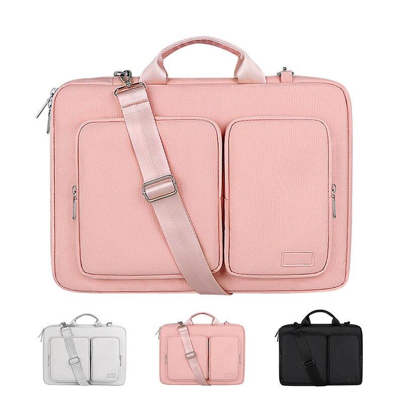 حقيبة كمبيوتر محمول مقاوم للماء 13.3 14 15.6 16 بوصة دفتر حقيبة الكتف لماك بوك اير برو غطاء كم حقيبة يد النساء الرجال حقيبة