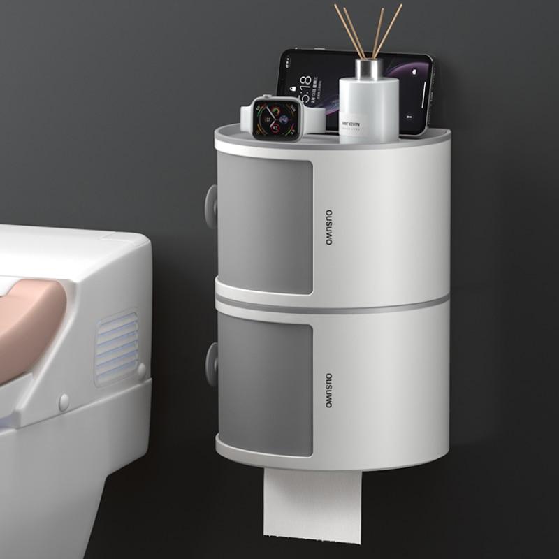 الحائط الحمام الأنسجة صندوق تخزين الرف التجميل الأنسجة صندوق تخزين المنظم فرضه اكسسوارات الحمام المنزلية