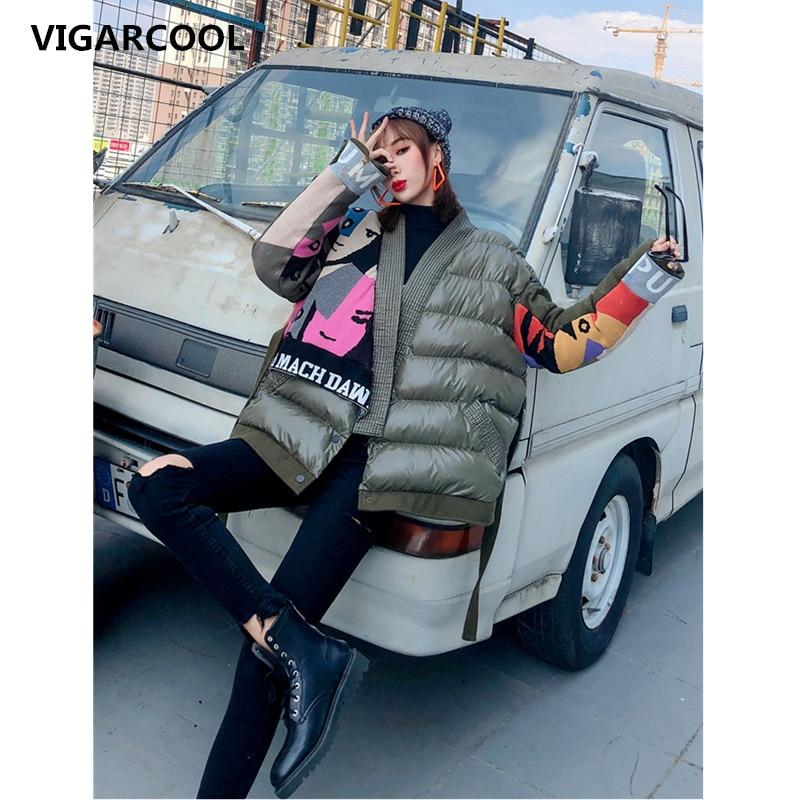 معطف شتوي من القطن السميك, معطف برقبة على شكل حرف v ولون متباين جودة عالية للنساء