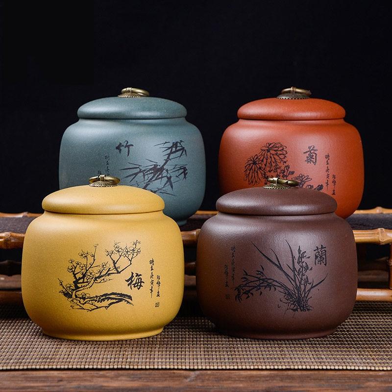فاخر الشاي caddie النمط الصيني المنظم مجموعة عليبات جرة بسكويت الخزف الشاي العلبة الحاويات Boite A تخزين المواد الغذائية