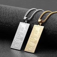 قلادة نقود من الفولاذ المقاوم للصدأ بالدولار الأمريكي لعام 100 ، سلسلة ذهبية وفضية اللون ، قلادة Sqaure ، قلادة للرجال والنساء ، مجوهرات الهيب هوب