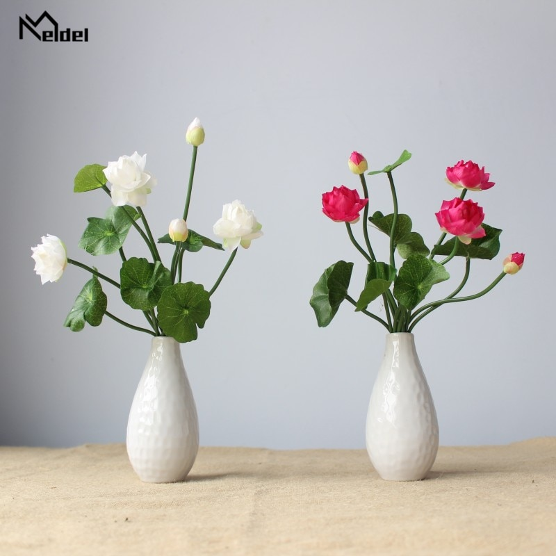 Meldel Wedding DIY Mini Bouquet Artificial Flower Silk Lotus Home Party Wedding Table Decor Fake Small Lotus Flower Arrangement