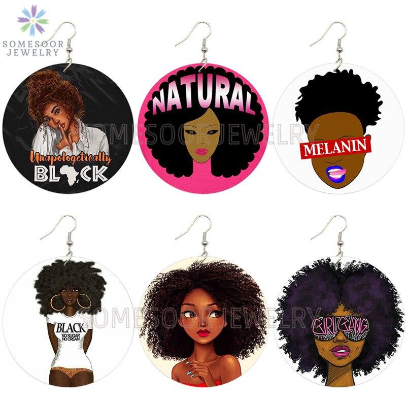 SOMESOOR melanina chica Banda Afro cabello Natural de madera pendientes negro africano orgullosamente joyería de diseño para mujeres regalos