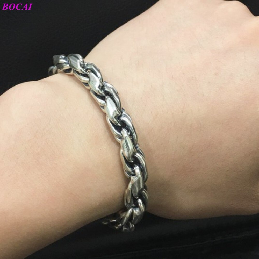 BOCAI S925 Sterling Silver Bracelet Fashion Classic Thai Silver Woven Men's Hand Chain Domineering Punk Pure Argentum Jewelry