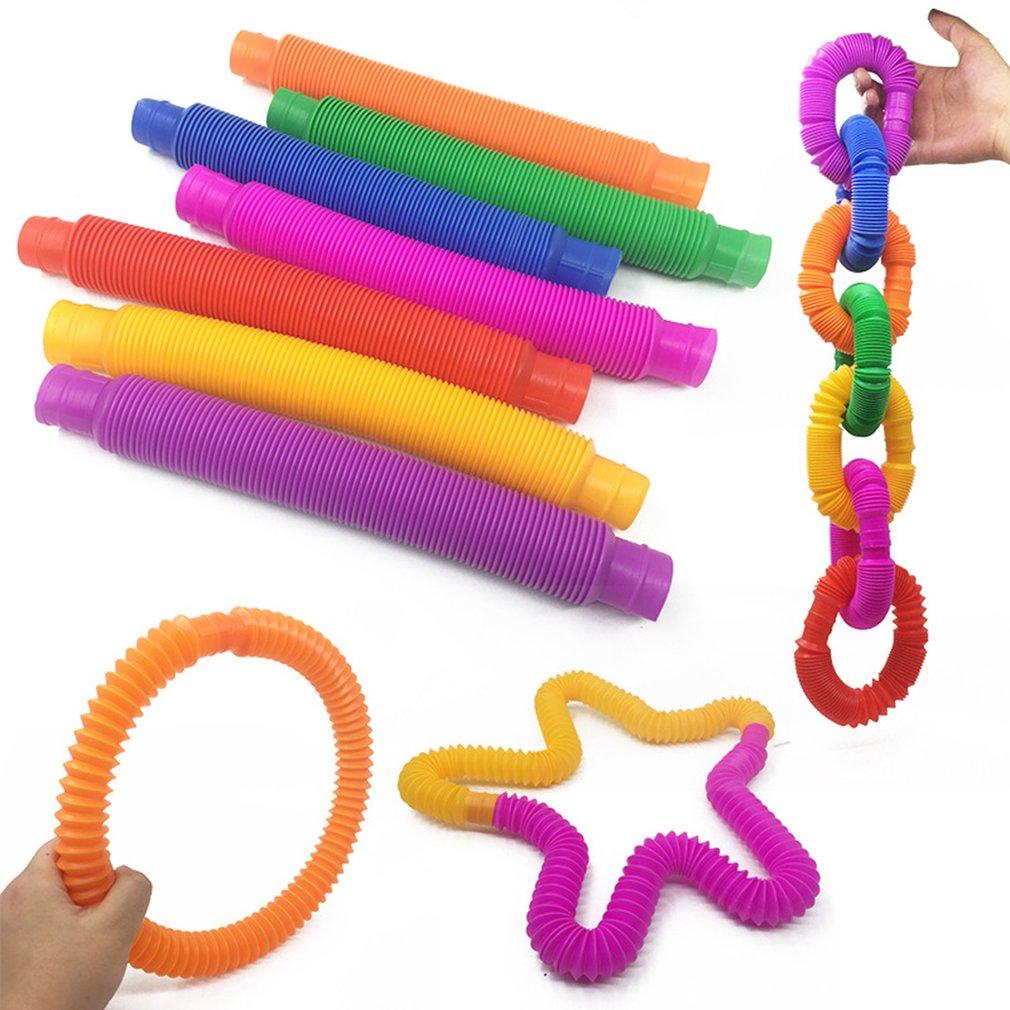 5pcs Colorful Plastic Pop Tube Coil Children' S Creative Circle Toys Early Development Educational Folding Toy Color Random