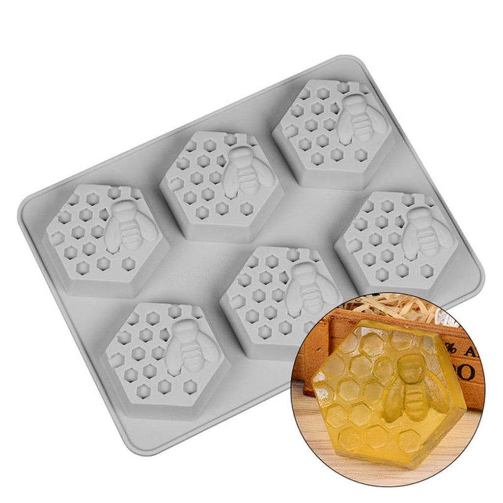 Molde para panal de miel molde para torta de silicona molde para jabón de abejas 19 células cera de abejas gelatina de hielo DIY decoración para pasteles