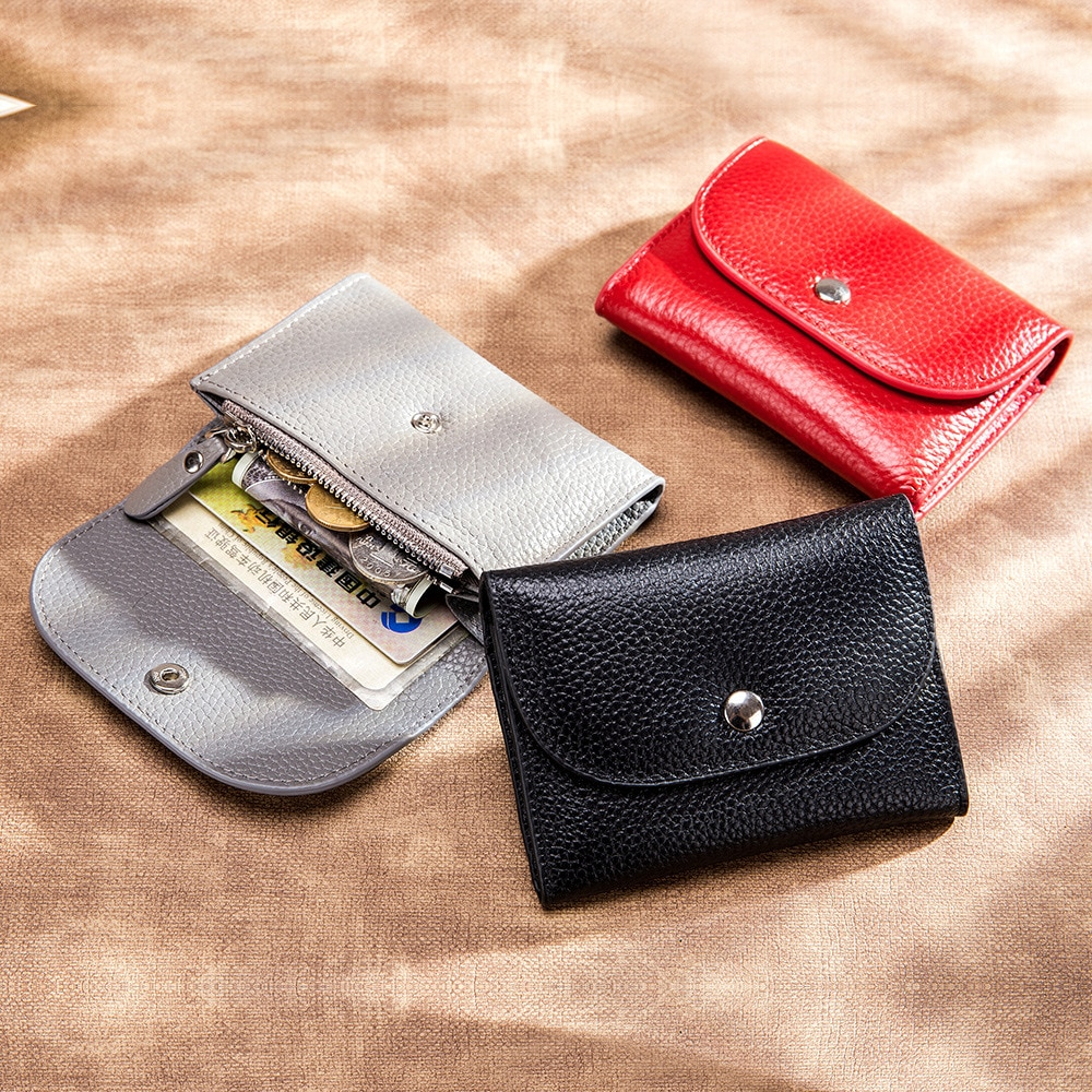 AliExpress - Genuine Leather Wallet Women Casual Simple Female Short Small Wallets Coin Purse Card Holder Men Money Bag with Zipper Pocket