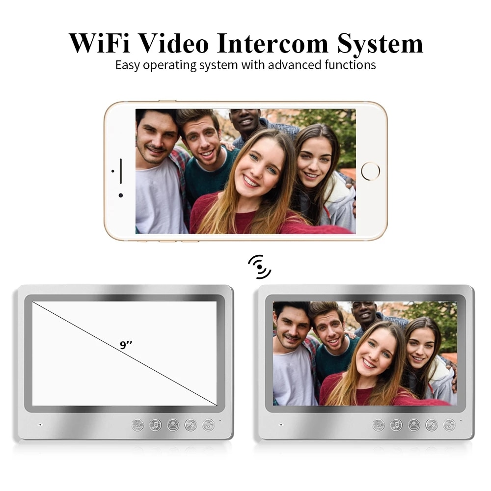 9 Inch big Screen Video Intercom System Monitor WiFi Door phone with Wired Camera IR Vision, Remote Unlock,Record,Snapshot APP C enlarge