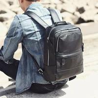 simple casual mens genuine leathershoulder bag head layer leather computer backpack school bag ladies large capacity bag