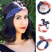 2021 New Unisex Cotton Sport Pocket Square Scarf American Flag Stripes Star Print Headband Bandana H