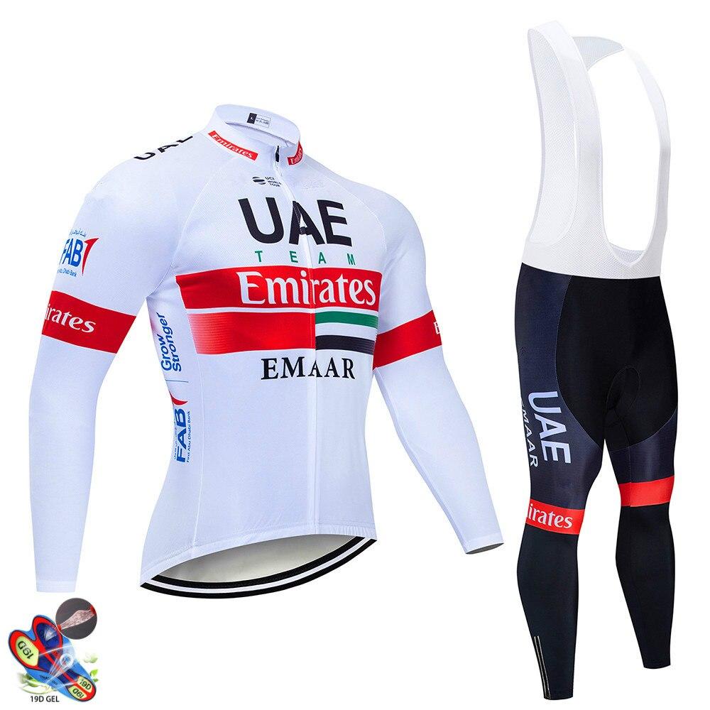 2020 UAE Pro equipo de manga larga Ciclismo Jersey conjunto babero pantalones Ropa Ciclismo bicicleta MTB Bike Jersey uniforme hombres Ropa