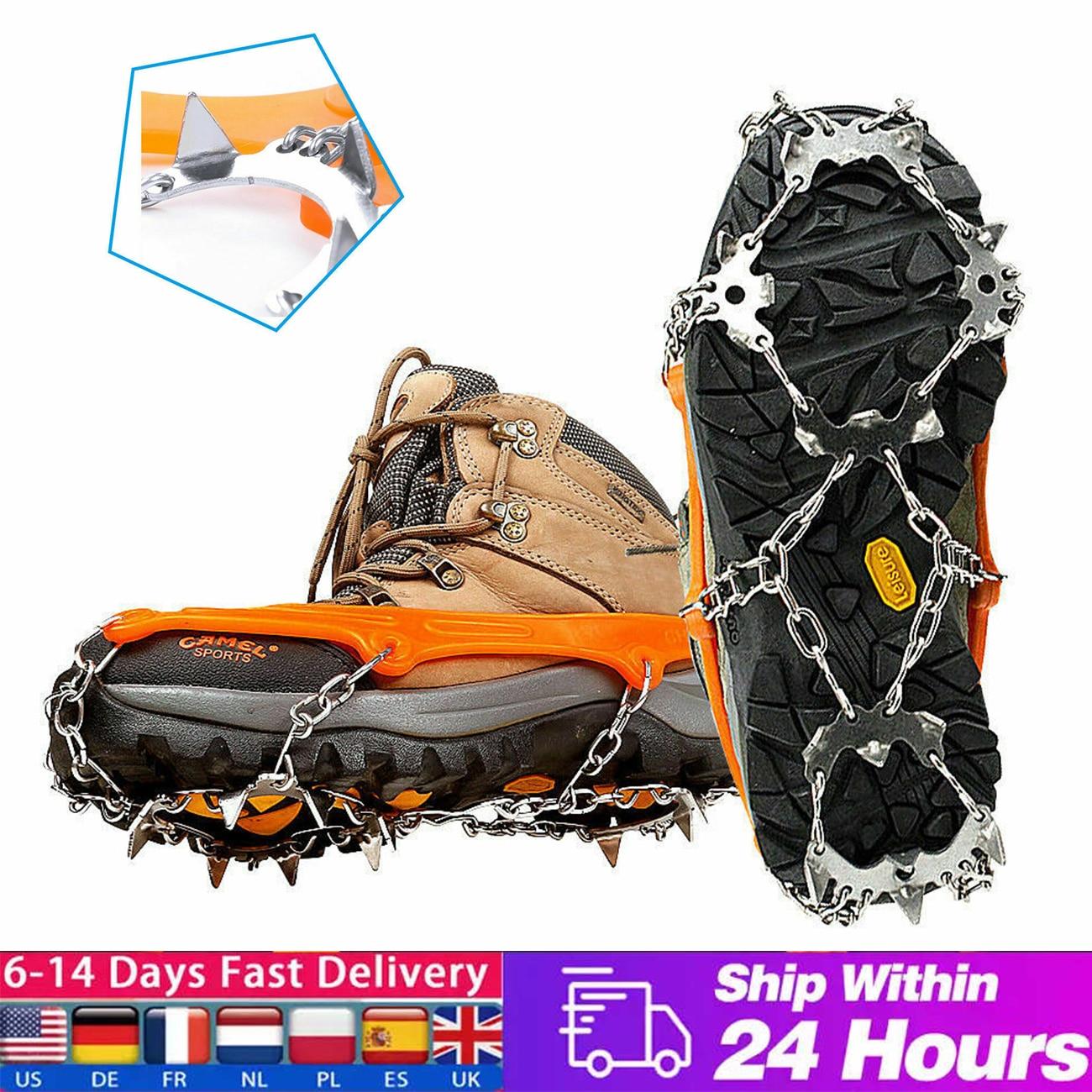 1 زوج 18 Teeths الجليد الثلوج الأشرطة المضادة للانزلاق تسلق القابض حذاء غطاء سبايك عالية القوة الفولاذ المقاوم للصدأ المرابط دروبشيبينغ
