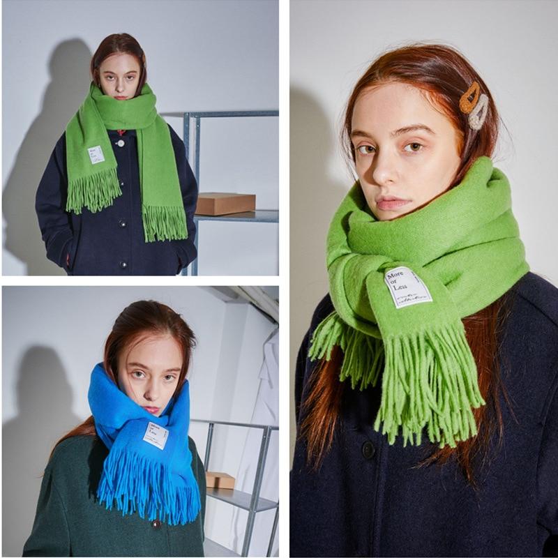 2019 Korean version autumn and winter pure cashmere women's scarf thickening warm women's shawl,Retro fringe women's scarf