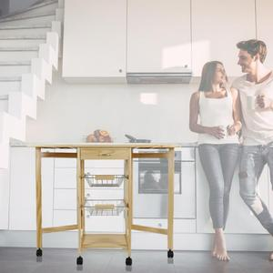 3 Layers Kitchen Foldable Islands & Trolleys Wheels Moveable Shelf Multifunctional Storage Design Detachable Kitchen Accessories