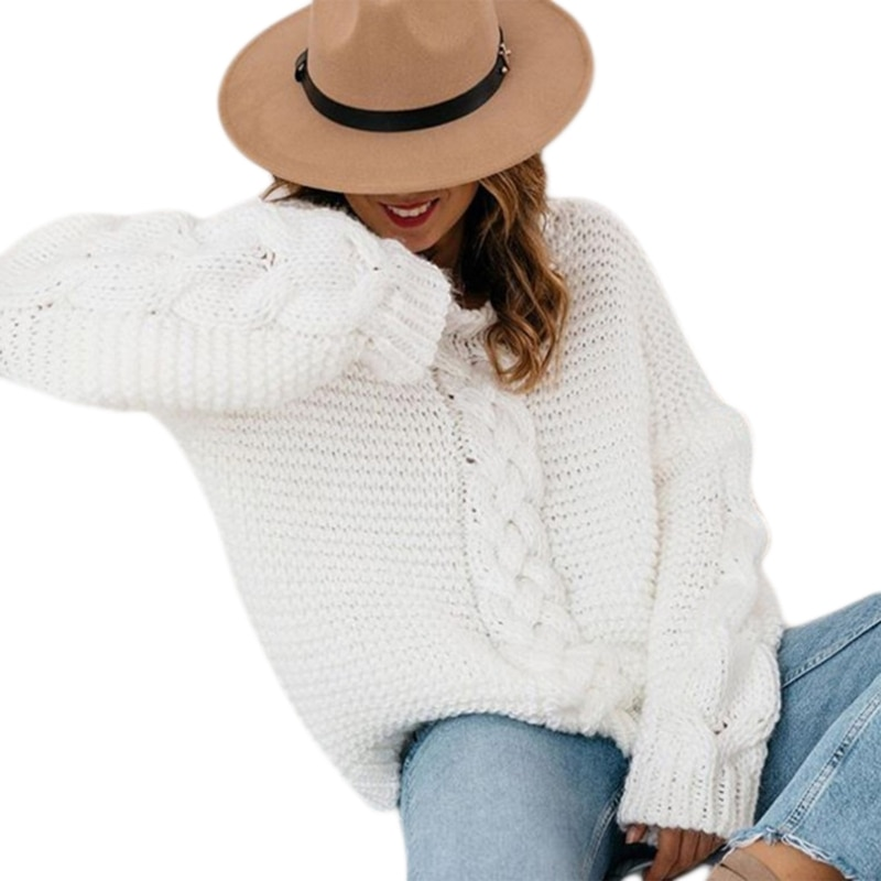Women Winter Long Sleeve V-Neck Sweater Chunky Cable Knit Solid Color Jumper Top enlarge