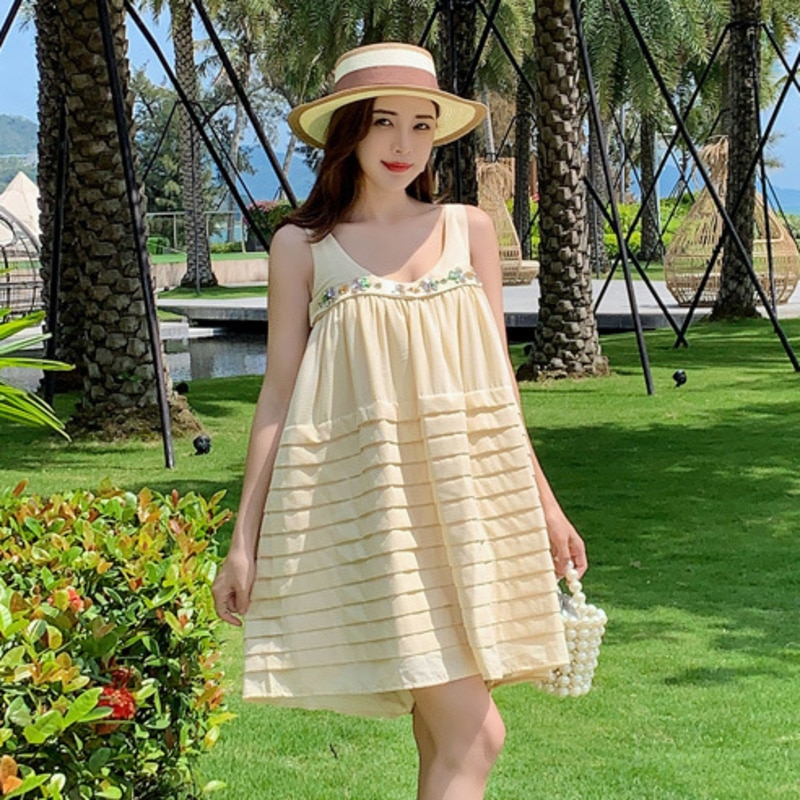 scoop neck sleeveless striped loose fitting dress for women Temperament Fashion New O Neck Solid Color Diamond Loose Sleeveless Sling  Dress Women Summer 2021  Dresses for Women