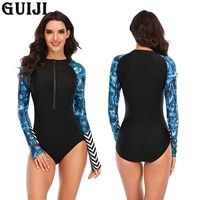 %e3%80%90guiji%e3%80%91ready stock 2021one piece long sleeved surfing suit sunscreen female swimsuit hot spring diving suit sexy female swimsuit