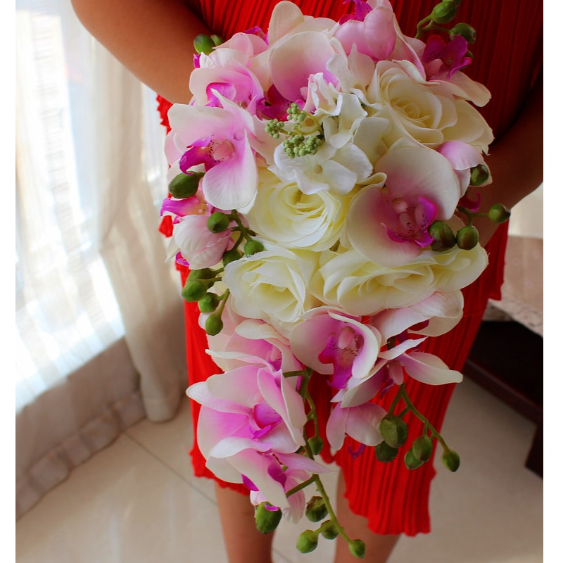 New Fashine Royal Pink Butterfly Orchid and White Satin Roses Bridal Waterfall Bouquet Amazing Wedding Flowers