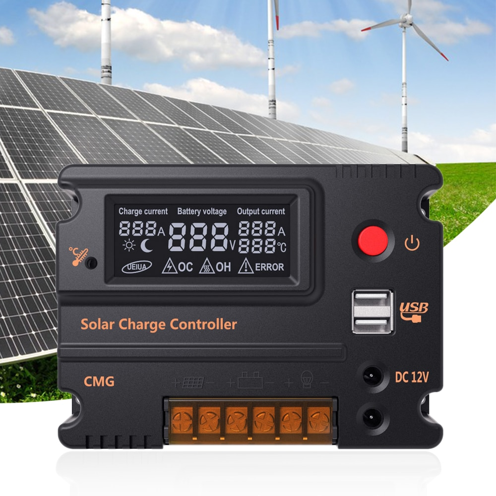 10A/20A 12V/24V LCD carga Solar batería del Panel del controlador regulador interruptor automático protección de sobrecarga CMG-2410/CMG-2420