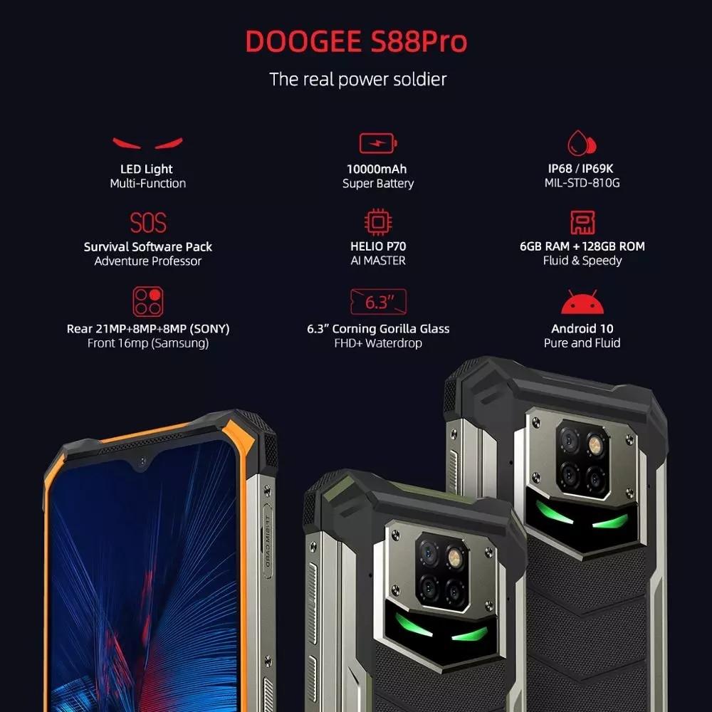 Смартфон DOOGEE S88 Pro защищенный, IP68/IP69K, 10000 мА ч, Android 10, быстрая смена, Восьмиядерный процессор Helio P70, 6,3 дюйма, 19:9, 6 ГБ ОЗУ, 128 Гб ПЗУ, NFC