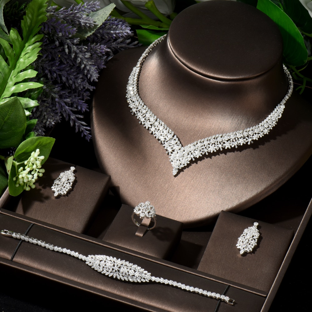 HIBRIDE Brilliant Cubic Zircon Necklace Earrings Ring and Bracelet Set Wedding Bridal Women Jewelry Dress Accessories N-149