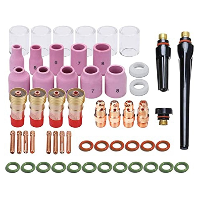 TIG Welding Accessory Kit Chuck Body Glass Cup Aluminum Nozzle Coarse Tone Lens 10 Pyrex Cup Kit for TIG WP