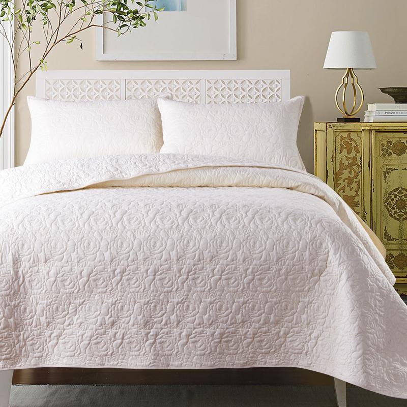34 220X240cm الأبيض براون روز الأحمر الأزرق الفاخرة النمط الأوروبي 100% مفرش قطن سادات غطاء سرير غطاء السرير بطانية 3 قطعة