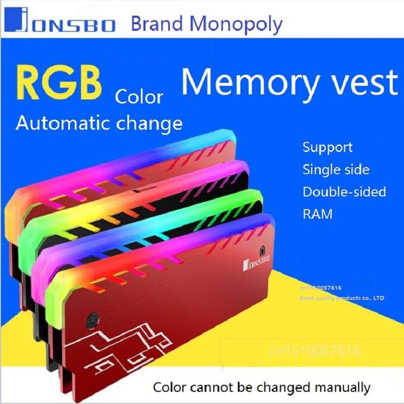Desktop Memory  Heatsink Cooler Shell RGB 256 Color Automatic Change Aluminum Heat Sink RAM Cooling Vest
