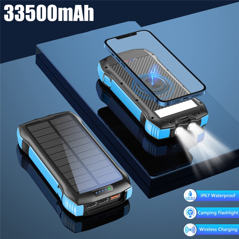 33500mAh بنك الطاقة الشمسية 10 واط تشى شاحن لاسلكي بطارية خارجية PD20W شحن سريع Powerbank آيفون 12 شاومي Poverbank