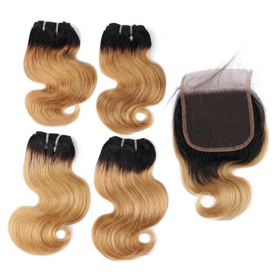 Bhf 100% onda brasileira do corpo do cabelo humano 4 pces lote com fechamento não remy 8 polegada 50 g/pacote extensões do cabelo humano