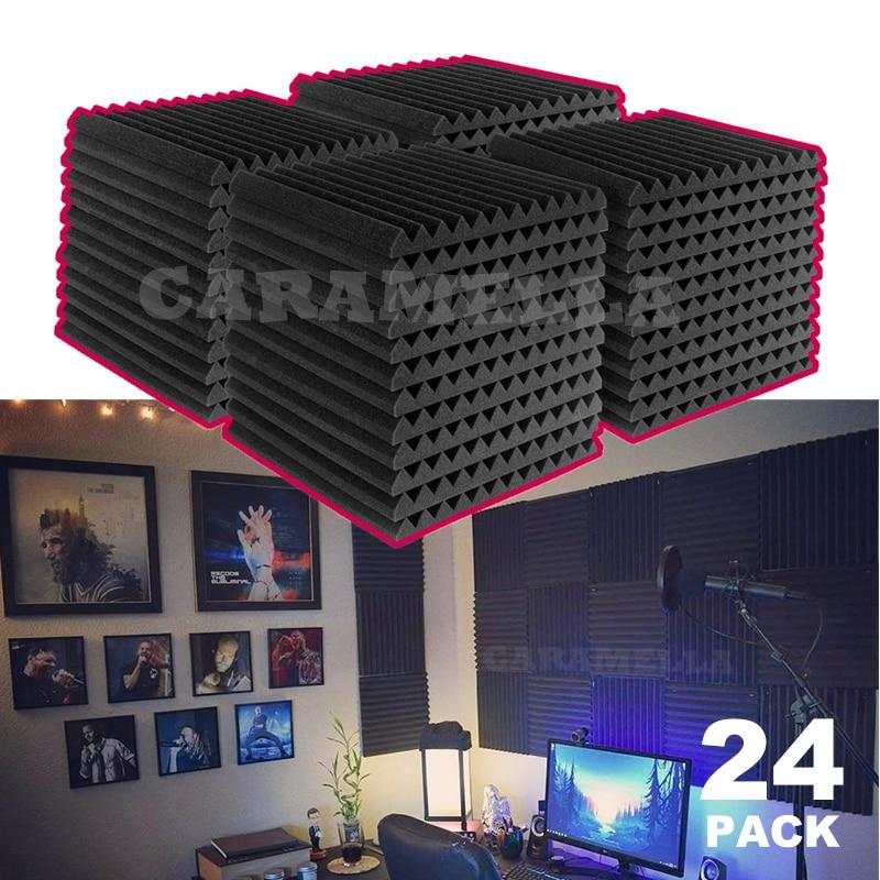 لوحة صوتية لامتصاص الضوضاء ، رغوة عازلة للصوت 300 × 300 × 25 مللي متر ، 24 قطعة