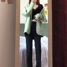 Korean Ins Bloggers Same Style Avocado Padded Shoulder Profile Suit Jacket Blazer Femme Long Coat Su