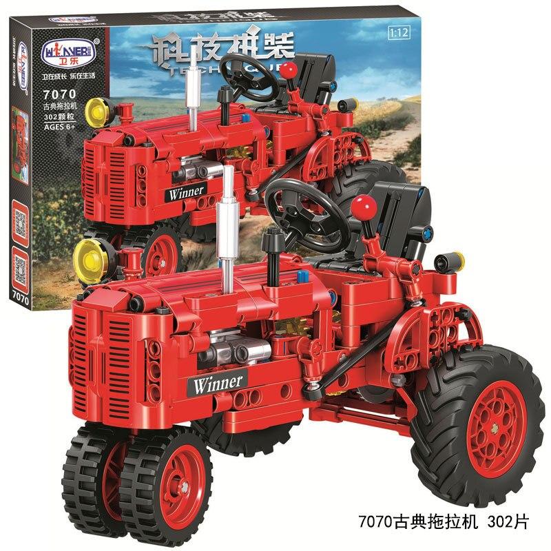Tractor antiguo clásico, coche de bloques de construcción, ciudad para uso técnico DIY, camión Tractor que camina, ladrillo, juguetes educativos para niños