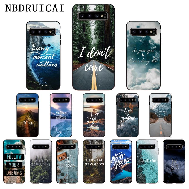 NBDRUICAI, funda de teléfono de silicona para carretera, montaña, playa, TPUSoft para SamsungS9 plus S5 S6 edge plus S7 edge S8plus S10 E S10 plus