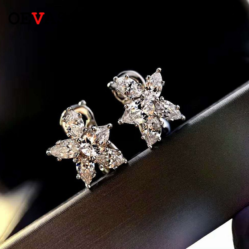 OEVAS 100% 925 الاسترليني الفضة تألق عالية الكربون الماس أقراط للنساء الزفاف حفلة خطوبة غرامة مجوهرات بالجملة