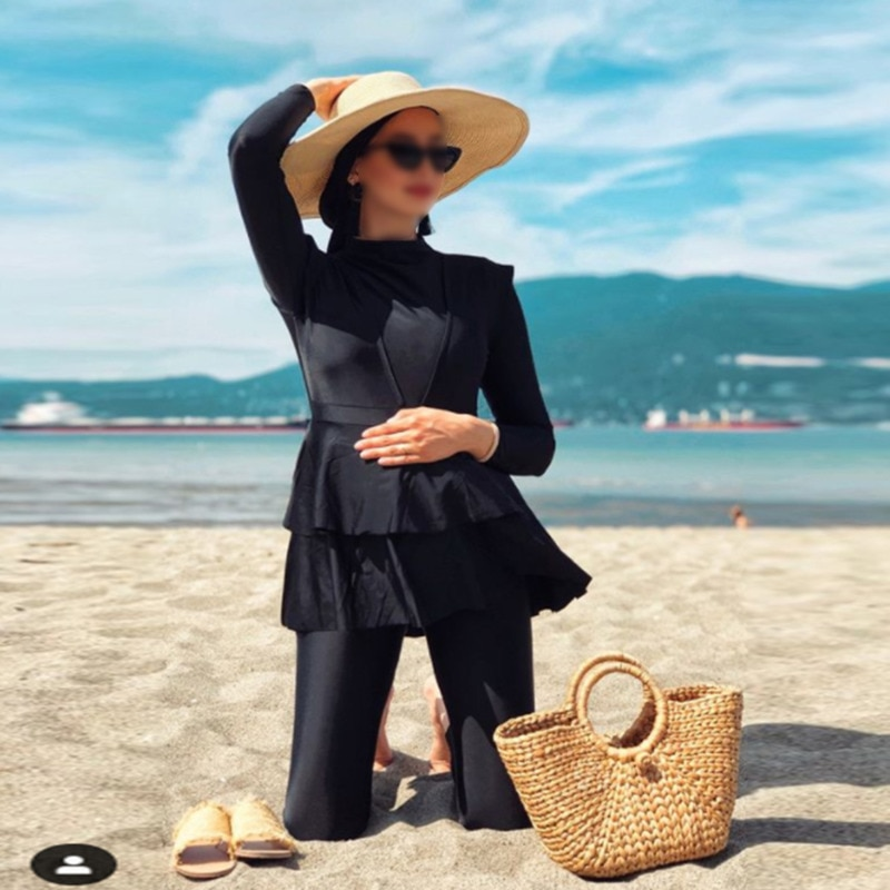 2021 NEW Whole Black Ruffle Burkini With Bra  3 Pieces Plus Size Muslim Swimwear Padding Swimsuits Women Maillot De Bain Femme