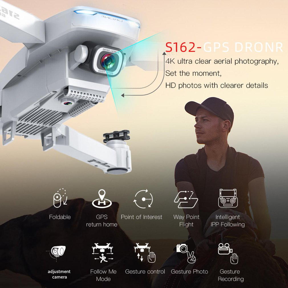 S162 4k Foldable Four Axis Uav High Definition Video Camera One Click Return 500m Distance Gps Camera Aircraft enlarge
