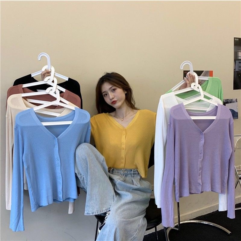 2021 new spring and summer long sleeve shirt women's sunscreen knitted sweater coat