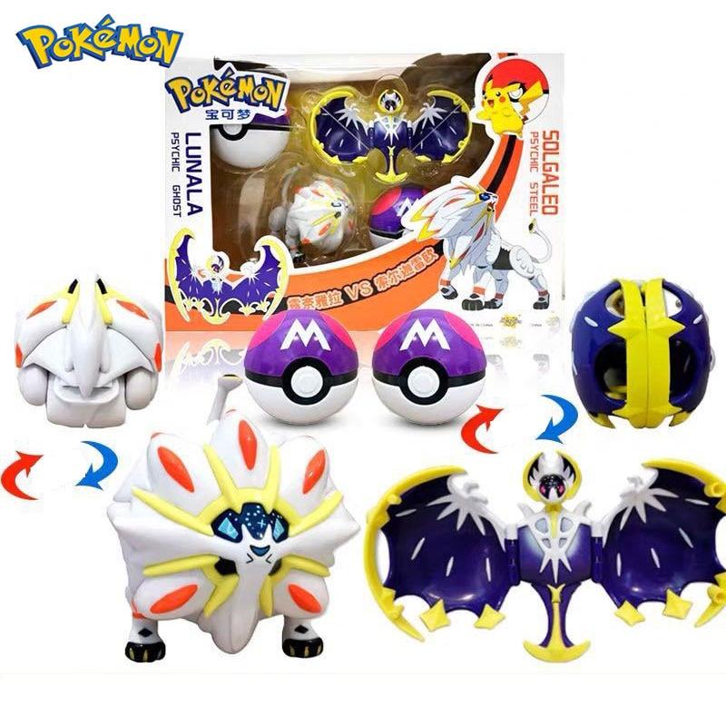 Pokemone Sun Moon Deformation Poke Action Figure Anime Toys Transformation Mewtwo Solgaleo Lunala Model Gift Toys For Childrens