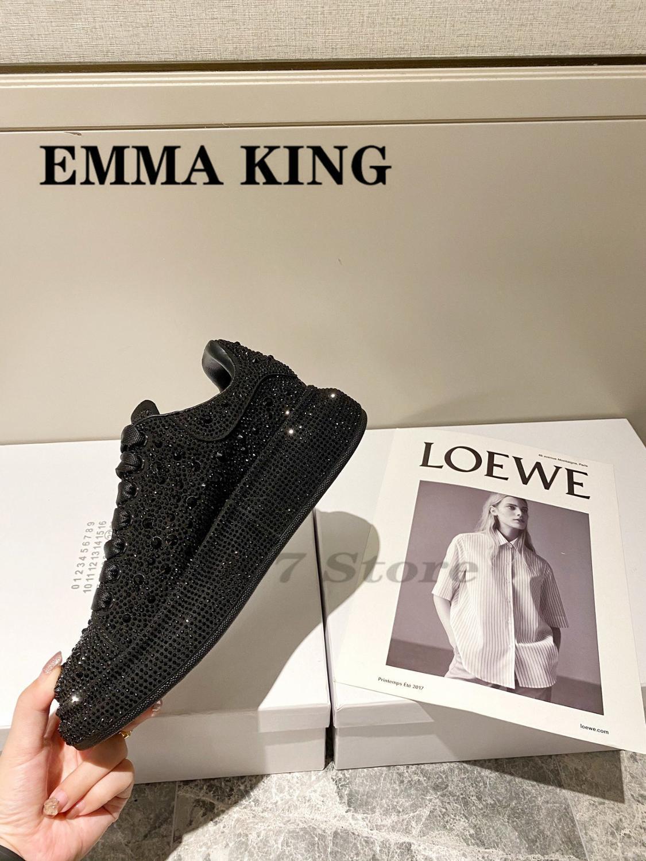 2020 مصمم حقيقية أحذية رياضية من الجلد السيدات مستديرة اصبع القدم الماس الجلود الطبيعية المدربين برشام الدانتيل يصل الأحذية النسائية فلكنيز